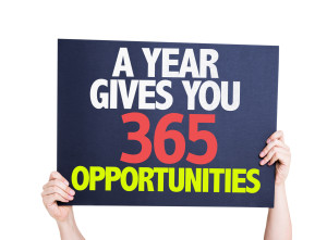 A Year Gives You 365 Opportunities card isolated on white